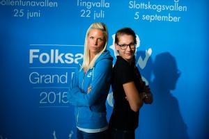 Karlstad 2015-07-21 Erika Kinsey och Sofie Skoog  på presskonferensen inför Karlstad Grand prix, Folksam Grand Prix.